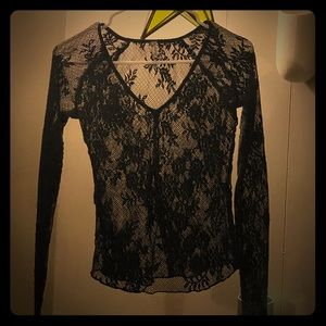 Free People -Black Lace Top w/ Thumb holes XS
